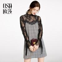 OSA欧莎2018春装新款女装性感格子吊带连衣裙