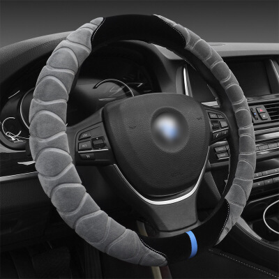 汽车方向盘套冬季短毛绒通用型把套38cm中号方向盘把套短毛保暖 冬季用品