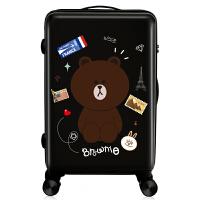 儿童行李箱可爱可爱行李箱女小清新韩版大学生拉杆箱万向轮旅行箱男儿童密码箱子 布郎熊(黑色) (拉链款)