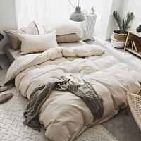 北欧简约纯色水洗棉纯棉床单四件套被套被单学生宿舍床上三件套2 卡其 水洗素色双拼