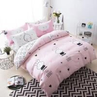 【官方旗舰店】四件套床上全棉100%纯棉卡通简约网红同款斜纹棉布三件套床品套件