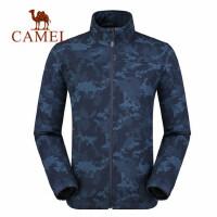 camel骆驼户外 秋冬新品冲锋软壳衣 加绒保暖时尚印花耐磨长袖衣服