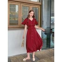 毛菇小象红色连衣裙2019新款法式复古收腰桔梗裙仙女裙子过膝长裙