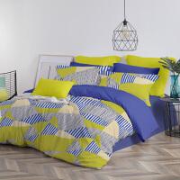 LOVO家纺 全棉纯棉三/四件套欧式几何纹样撞色彩设计床上套件床单被套 欧纳斯