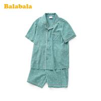 巴拉巴拉男童睡衣夏季薄款空调服中大童儿童家居服套装学生短裤潮
