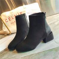 马丁靴女英伦风2018新款秋冬季小短靴女粗跟瘦瘦及踝靴网红女鞋子