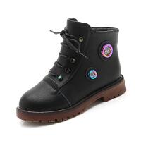 女童靴子2018秋冬季新款女����短靴�和��R丁靴加�q公主靴�r尚皮靴