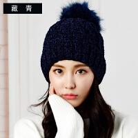 帽子女秋冬毛线帽潮时尚百搭套头护耳保暖韩版英伦学生防风针织帽