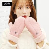手套女冬季韩版可爱学生保暖卡通秋冬天日系麂皮挂脖全指毛绒手套