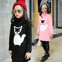 百槿 冬季女童加绒厚款高领狐狸打底衫 中大童100-160身高可穿加绒打底衫
