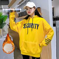 卫衣 女士连帽字母印花长袖加绒加厚卫衣2020年冬季新款韩版时尚潮流女式宽松休闲女装套头衫