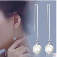 淡水珍珠长线耳环后挂式水滴耳线耳饰
