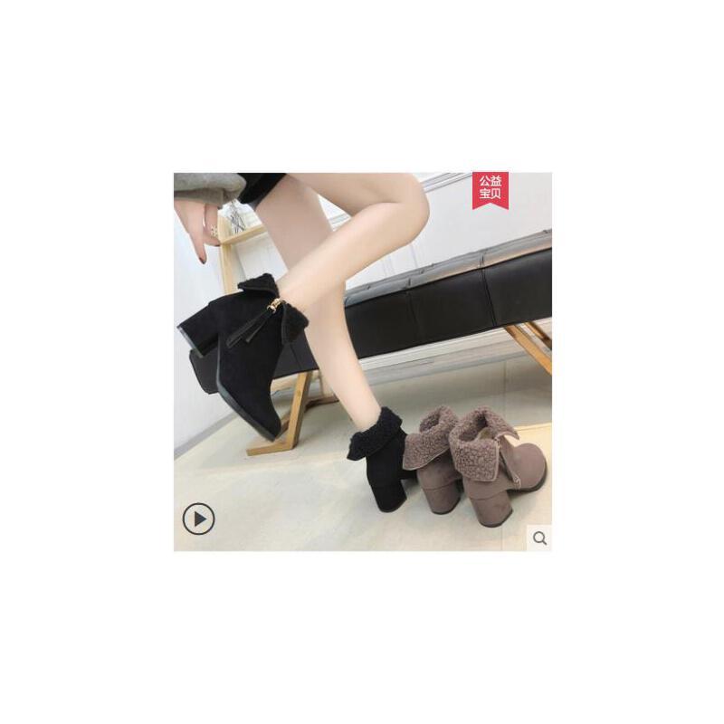 粗跟短靴女冬季新款韩版裸靴加绒加厚中跟圆头两穿马丁靴女鞋