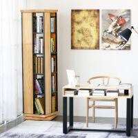 旋转书架现代简约实木办公创意转角书柜客厅置物架书房陈列架家具