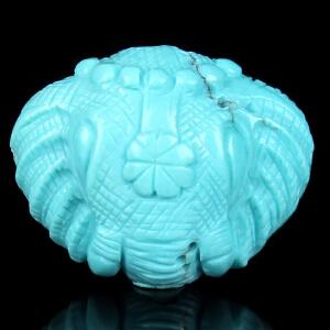 原矿高瓷高蓝绿松石象神背云 重2.50g