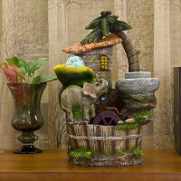 普润 吉象逸园 流水摆件/树脂摆件 滚珠彩灯款 创意结婚礼物客厅家居饰品