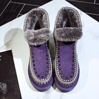 冬雪地靴 女羊皮毛一体水钻真皮内增高毛毛短靴大码加厚棉