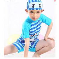 时尚舒适儿童游泳衣连体泳衣泳帽男童沙滩防晒温泉套装泳衣