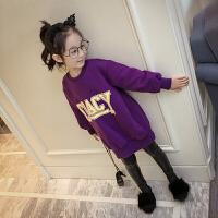 女童中长款加绒卫衣外套秋季韩版小女孩童装宽松套头字母上衣 紫色 挂牌5码 身高90-100