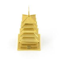 爱拼 全金属 不锈钢 DIY拼装模型3D纳米立体拼图 五重塔 黄铜版