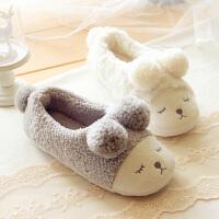 冬天小绵羊家居保暖包跟女棉拖鞋毛绒防滑棉鞋羊羔绒球球情侣拖鞋