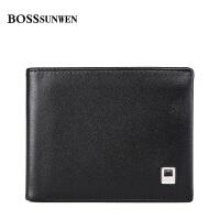 BOSSsunwen男士牛皮钱包男短款票夹商务牛皮钱夹青年皮夹钱袋男式黑色S55-208510A1