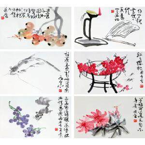著名画家  许麟庐(作者自题画签)《春华秋香册页6开》