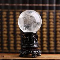 天然水晶球摆件天然白色透明水晶球摆件七星阵风水转运天然水晶原石占卜