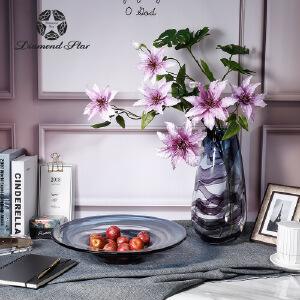 吹制玻璃富贵竹花瓶现代艺术插花器彩色装饰玻璃工艺品摆件