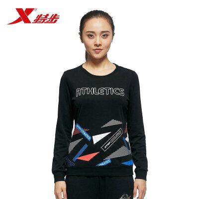 特步女子休闲卫衣时尚潮流印花舒适保暖运动女套头上衣983328051488
