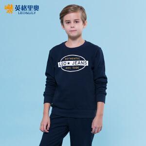 英格里奥2018秋装新款男童青少年卫衣裤两件套中大童运动休闲圆领卫衣套装