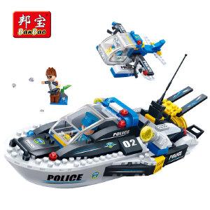 【当当自营】邦宝小颗粒益智教育创意拼插积木玩具新警察系列水上巡逻7012
