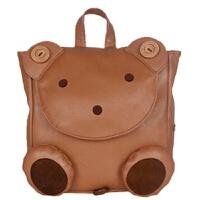日韩幼儿园儿童书包 女童可爱双肩包1-3-5岁pu宝宝防走失背超萌潮 驼棕色 小熊