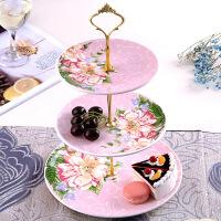 甜品台三层创意零食盘欧式现代展示架摆件装饰客厅水果盘北欧风格