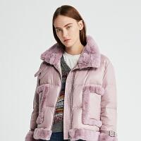 DAZZLE地素 2019冬专柜新款环保皮草拼接羽绒服外套女2G4K2231G