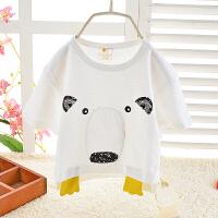 夏季儿童婴儿短袖卡通小熊T恤 小童韩版圆领潮款宝宝单件上衣