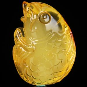 蜜蜡金包蜜巧色精雕年年有鱼吊坠 重14.06g(含链)