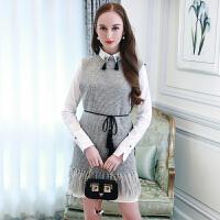 白色衬衫裙打底+流苏系带针织背心裙两件套