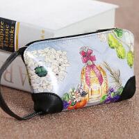 韩版手包手绘卡通钱包小清新短款女可爱手包钥匙包手机包零钱包 浅灰色 香水瓶