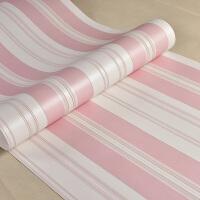 床头壁纸 现代简约粉色地中海竖条纹无纺布墙纸3D儿童房卧室床头背景墙壁纸L 加厚8612粉红色 仅墙纸