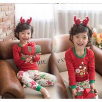 纯棉春秋男童女童秋衣秋裤修身保暖睡衣全棉打底套装 红色 圣诞树