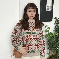 秋冬女装韩版复古几何图案格子套头毛衣bf风宽松长袖百搭学生上衣