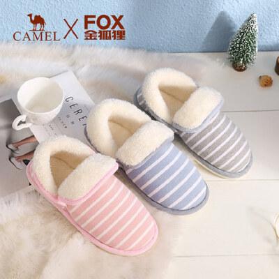 骆驼&金狐狸联合系列 冬季新款时尚休闲条纹保暖舒适居家拖