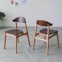 餐椅 北欧实木餐椅樱桃木原木家用设计靠背椅子 樱桃木+黑胡桃