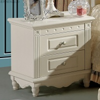 韩式田园床头柜欧式实木台灯简约白色简易卧室家具收纳柜床边 象牙白色 组装