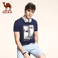 骆驼男装 夏季新款柔软时尚印花修身圆领日常休闲短袖T恤衫男