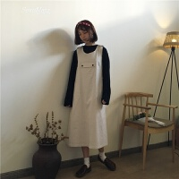 学院风可爱减龄口袋背带裙宽松显瘦娃娃裙中长款连衣裙 米杏色 均码
