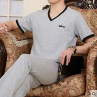 中老年运动装圆领卫衣套装 男士运动套装 短袖休闲长裤运动服