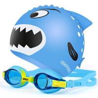 儿童泳镜男女童大框游泳眼镜泳帽套装高清小孩