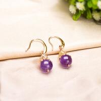 玲珑紫伊天然紫水晶配金发晶耳坠